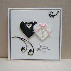 wedding card from Splitcoast Stampers Wedding Cards Handmade, Greeting Cards Handmade, Handmade Engagement Cards, Cute Cards, Diy Cards, Wedding Anniversary Cards, Happy Anniversary, Handmade Anniversary Cards, Cricut Anniversary Card