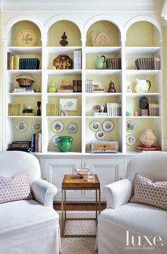 Mediterranean Cream Living Room with Velvet Furnishings - Luxe Interiors + Design Cream Living Rooms, Living Room Lounge, Living Spaces, Traditional House, Bookshelves Built In, Bookcases, Book Shelves, Open Shelves