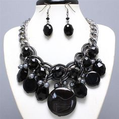 Luxe Beauty Supply - Burnished Black Necklace and Earring Set (http://www.lhboutique.com/burnished-black-necklace-and-earring-set/) #FashionJewelry, #LuxeBeautySupply, #FashionAccessories