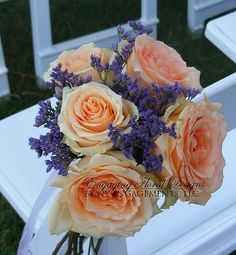 Peach Roses and Lavender Bouquet Coral Wedding Flowers, Rose Wedding Bouquet, Orange Wedding, Wedding Colors, Wedding Ideas, Romantic Flowers, Wedding Stuff, Peach Bouquet, Lavender Bouquet