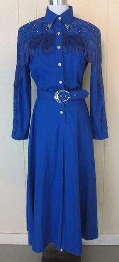 Vintage Long Blue Cotton Western Fringe Belt Dress Lilia Smitty Flaws 7/8 Flaws #LiliaSmitty
