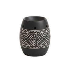 Yankee Candle African Etched Ceramic Wax Burner This melt warmer is decorated with a traditional African-style design etched in cream on a matt black background. Perfect for use with any Yankee Candle Wax Melt. #candles_decorative #African_style #ceramic_DIY #best_wax