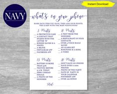 What's on Your Phone Navy Bridal Shower, Nautical Bridal Showers, Nautical Party, Nautical Wedding, Bridal Shower Games, Navy Baby Showers, Shower Baby, Sprinkle Party, Whats In Your Purse