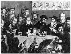 In questa incisione troviamo i principali riformatori protestanti ( tra cui Lutero), vissuti in tempi e luoghi diversi, che discutono di argomenti teologici relativi ai propri scritti.