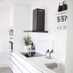 Beautiful black and white kitchen...check out on YouQueen.com small kitchen ideas for your home