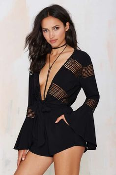 Tied Down Plunging Romper - Rompers + Jumpsuits
