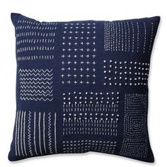 Enjoy the look of a sampler with this simple throw pillow embroidered in thick gray thread against a background of off-white fabric. Chain stitch, French knots and dotted lines cross the surface in patc Modern Throw Pillows, Outdoor Throw Pillows, Decorative Throw Pillows, Sofa Throw, Accent Pillows, Tribal Bedding, Sashiko Embroidery, White Embroidery, Pillow Reviews