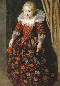 1625 Paulus Moreelse (Dutch artist, 1571-1638) Portrait of a Girl with a fan.