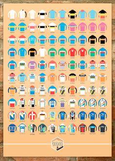 Tour de France 100 Jerseys poster by Beach