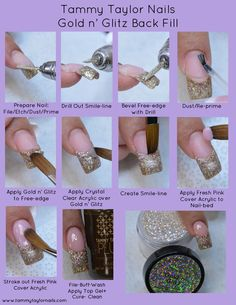 Pin by Patricia Voldberg on Nailed It Polygel Nails, Gold Nails, Diy Nails, Glitter Nails, Cute Nails, Pretty Nails, Hair And Nails, Diy Acrylic Nails, Gel Nail Art