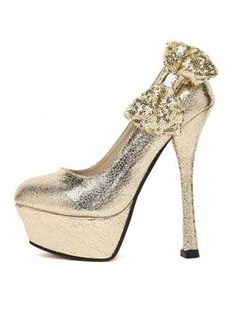 Bow Sequined High Heels