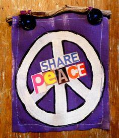 SHaRe PeAcE MIXED MEDIA wall hanging II Purple by destash4u, $15.00