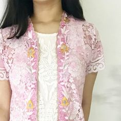 Lulu Rabbit Long Lace Pink  This is a Pre-Order     Estimated Work Days : 10 – 14 working days (excluding Saturdays, Sundays & Public Holidays)    Lulu Rabbit Hand Embroidery Contemporary Kebaya    Length of Kebaya : approx. 90 cm    Material used : Fine Lace Fabric / Hand Embroidery