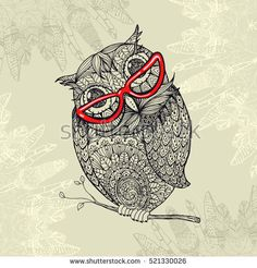 Doodle style owl in red eyeglasses. Illustration with ornaments fill for adult coloring book page design, antistress ink drawing or tshirt print design, fabric textile