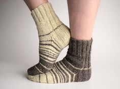 Asymmetrical Striped Hand Knitted Socks  100 Natural by milleta