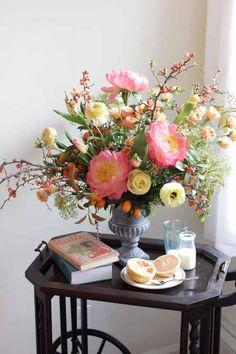 peach peonies arrangement