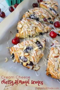 Stuffed with fresh cherries, sliced almonds, and drizzled with a cream cheese glaze, these flaky scones are fantastic with your morning coffee! Perfect for breakfast, this… Donut Recipes, Brunch Recipes, Breakfast Recipes, Cooking Recipes, Dessert Recipes, Scone Recipes, Coffee Recipes, Drink Recipes, Yummy Recipes