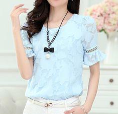 2015 estilo verão mulheres blusas blusa feminina chiffon blusa com meia mangas oco out lace alargamento mangas estilo doce