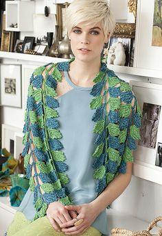 shawl, wrap, blue, green, leaves, ravelry, vogue knitting crochet 2012.  is it knit or crochet??
