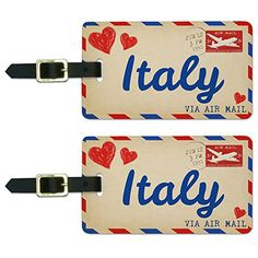 Air Mail Postcard Love for Italy Luggage Suitcase CarryOn ID Tags Set of 2 * To view further for this item, visit the image link.Note:It is affiliate link to Amazon.