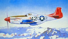 "Tuskegee Airmen - ""Duchess Arlene"" 19""x 33"" oil on canvas © 2002 Troy White Stardust Studios. This painting is one part of a quadríptic featuring one plane of each of the four squadrons which made up the all black 332nd Fighter Group- the famed Tuskegee Airmen. ""Duchess Arlene"" was a P-51D assigned to Lt. Robert W. Williams of the 100th FS, 332nd FG in 1945. http://www.starduststudios.com/contact.html"