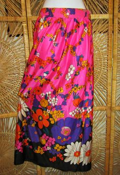 Vintage 1960s Maxi SkirtMod Flower PowerNeon DayGlo by linbot1, $20.00
