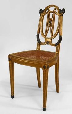 French Empire seating chair/side chair-pair gilt