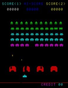 Space Invaders....my first video game.  Played with my older brother all the time.  Still have the game and the Atari.