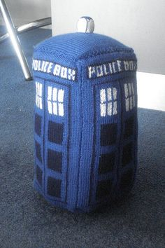 Free knitting pattern for TARDIS plush toy about a foot tall