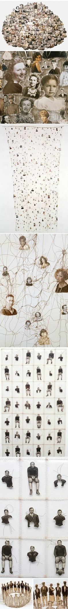 Lisa Kokin has used the idea of family trees and transformed this into an artistic form. I like the way the images are sewn together to connote the idea that familys will always be joined. It shows how a family grows and branches out into different directions.