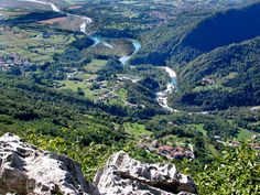 View of Meduna village n its river valley in Meduna, Pordenone, Friuli-Venezia Giulia_ Italy