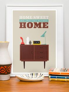 Mid century modern, Retro poster, Danish modern, scandinavian design print, wall decor  Home Sweet Home 50 x 70