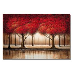 Rio 'Parade of Red Trees' Canvas Art - 14753596 - Overstock.com Shopping - The Best Prices on Trademark Fine Art Gallery Wrapped Canvas
