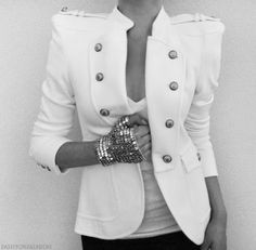 white blazer with some awesome buttons