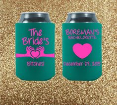 The absolute, most important rule of etiquette when it comes to bachelorette parties is this: You are celebrating a very special bride-to-be, and this weekend is all about her! Celebrate the bride in style with our variety of awesome party coolies! Don't like our designs? We can customize something unique and beautiful just for you!  Bachelorette Can Coolers  Custom Can Coolers  by StripedPeanut