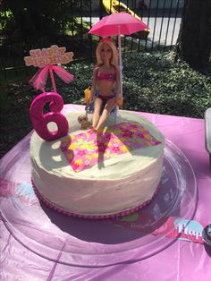 Swim Birthday Parties, Summer Birthday, 5th Birthday, Birthday Ideas, Barbie Birthday Cake, Barbie Cake, Swim Party Decorations, Rapunzel Barbie, Pool Party Cakes