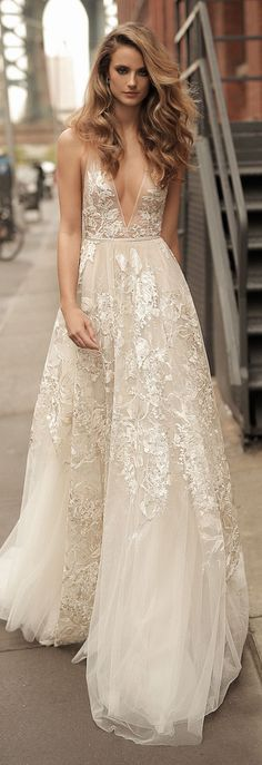 Lace Wedding Dresses Berta Wedding Dress Collection Spring 2018 - From chic pieces to sexy silhouettes that highlight every feminine curve oh-so-glamorously; Berta Wedding Dress Collection Spring 2018 is simply fabulous. Bridal Collection, Dress Collection, Summer Collection, Weeding Dress, Sexy Wedding Dresses, V Neck Wedding Dress, Wedding Gowns 2017, Colorful Wedding Dresses, Wedding Gown A Line