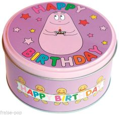 BOITE-ronde-BARBAPAPA-en-Metal-ANNIVERSAIRE-Happy-Birthday-kawaii-PROMO-30