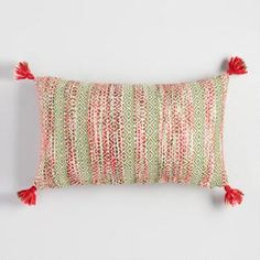 Red and Green Woven Holiday Lumbar Pillow