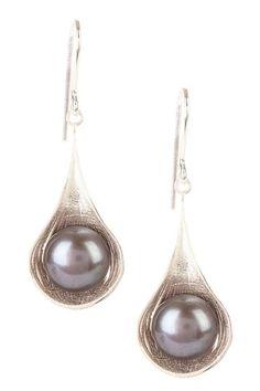 10.5mm Black Freshwater Pearl Teardrop Earrings by Royal Chain Group on @HauteLook