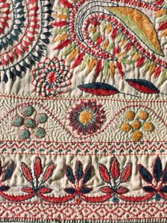 Detail of Kantha border motifs, Khulna District, Bangladesh, 2nd half of the 19th century