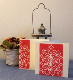 Set of 5 Hand Block Printed Greeting cards by KanalShah on Etsy, $25.00