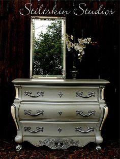 RESERVED Mercury Glass French Grey Bombe Chest Dresser