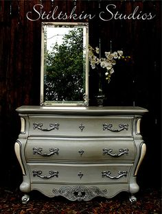 Mercury Glass French Grey Bombe Chest Dresser