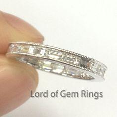 Baguette Diamond Wedding Band Eternity Anniversary Ring 14K White Gold-VS H Diamond Milgrain - Lord of Gem Rings - 1