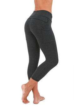"FTLA Apparel Bamboo 17"" Sport Capri in Heather Charcoal - organic cotton and organic bamboo - eco-friendly vegan"
