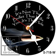"eBlueJay: S-718-W CD CLOCK - 'IT'S NOT THE BULLET THAT KILLS..."" WITH WHITES HANDS HANDS"