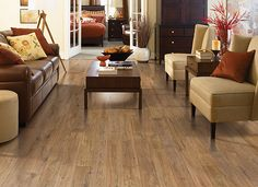 #Laminate wood floor for traditional living room design. Country Natural Oak by Mohawk.
