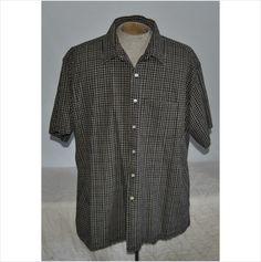 Men's Van Heusen Dress Shirt Gray Plaid 100% Cotton Size XX-Large Short Sleeve
