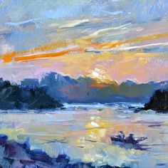 """""""John Boat Sunrise,"""" by Lon Brauer, oil, 12 x 12 in."""